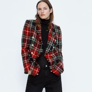 Zara checkered tweed blazer NWT xl $149